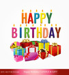 eps Vector image: Happy Birthday CANDLE & GIFT