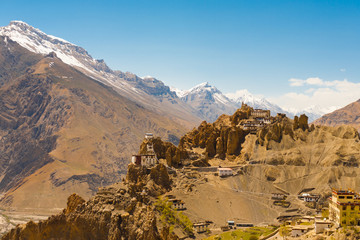 Mountain Old Dhankar Cliff Monastery Spiti Valley