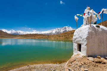Stupa Pristine Mountain Lake Buddhist Dhankar