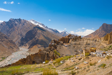 Wide View Old New Dhankar Monastery Spiti Valley
