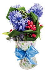colorful bouquet from hyacinth arrangement centerpiece isolated