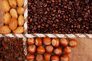 almonds, coffee beans