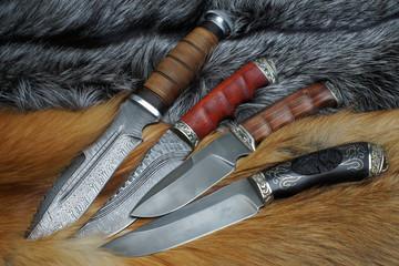 Knifes on fur of a fox
