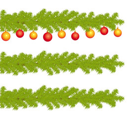 Highly detailed fir branches of decorated christmas tree.