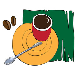 Red cup of coffee on green napkin