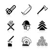Timber industry icons set