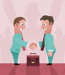 Two cartoon businessman handshaking.