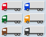 transport set of colorful sticker with small truck silhouette poster