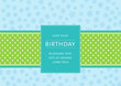Birthday card with flowers and ribbon with dots