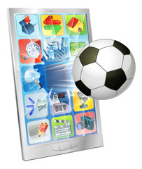 Soccer ball flying out of mobile phone