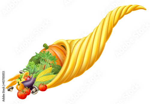 Cornucopia horn full of fresh produce food