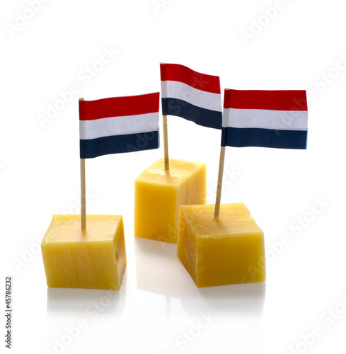 dutch cheese cubes isolated on white