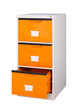 Three drawers cabinet in bright orange color isolates on white