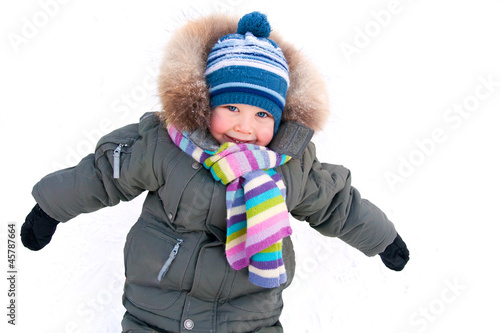 little boy in winter