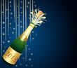 Carte de voeux bleu nuit et or. Bouteille de Champagne 2013.