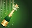 Carte de voeux verte et or. Bouteille de Champagne 2013.