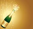 Carte dorée. Bouteille de Champagne 2013.