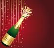 Carte de voeux rouge et or. Bouteille de Champagne 2013.