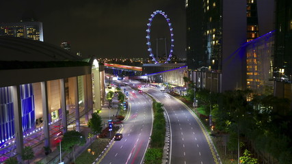Singapore street at night, timelapse