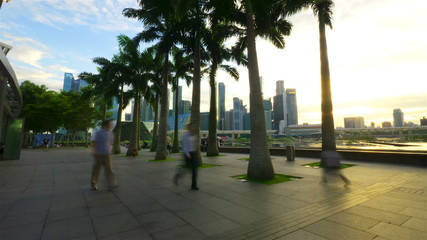 Quay in Singapore at sunset, timelapse in motion