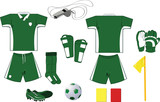 Complete green and white soccer set