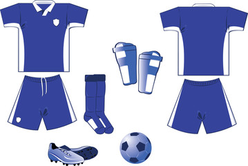 white and blue soccer equipment