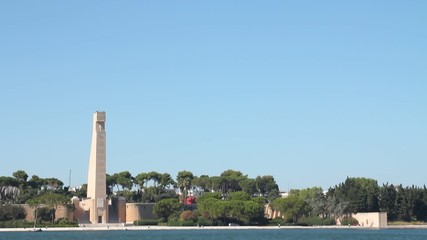 Rudder shaped monument in Brindisi, Italy