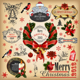 Christmas collection of calligraphic and typographic elements poster