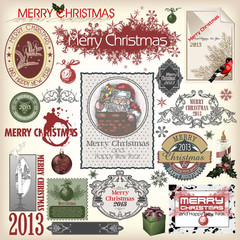 Set of vector Christmas designs and vintage new year labels. Ele