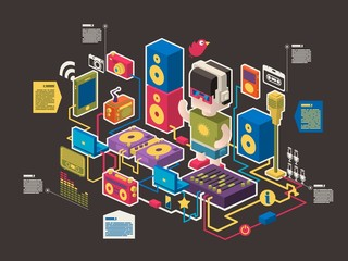 music and web information icons, vector