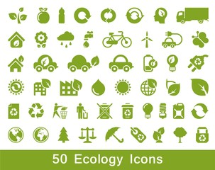 50 Ecology and recycle icons, vector set
