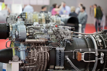 Big motor of helicopter on exhibition, focus on motor
