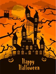 scary vector castle in the woods, Halloween card
