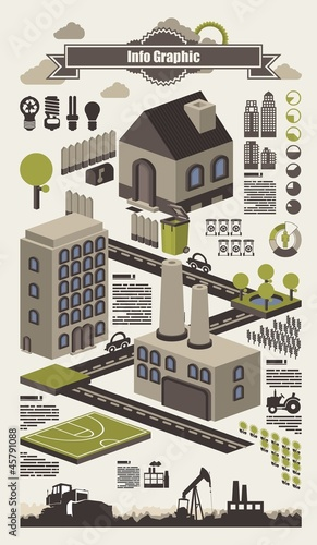 isometric info graphics, ecology vector elements,set 2