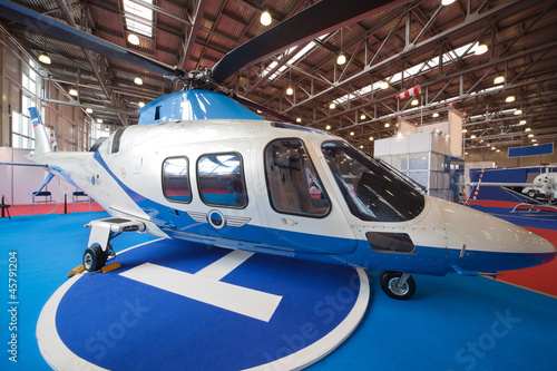 Two helicopters in pavilion on exhibition