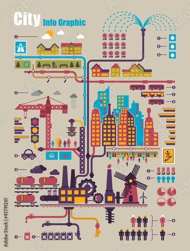 city info graphic, industry and ecology vector elements