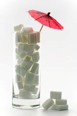 zuckerwürfel in glas