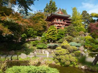 Pagode dans le jardin zen japonais de san francisco