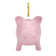 Gold coin drops into a pink piggy bank