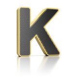Letter K as a perforated metal object over white