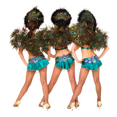 Three sexy carnival dancers back
