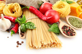 Fototapety Pasta spaghetti, vegetables and spices, isolated on white