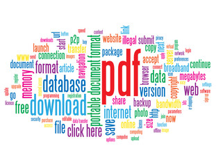 """PDF"" Tag Cloud (download document internet format web button)"