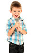 funny little boy with microphone, isolated on white