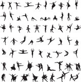 Fototapety set of silhouettes of ballet dancers