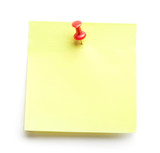 Yellow sticker, isolated on white background