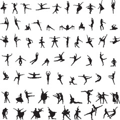 set of silhouettes of ballet dancers