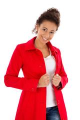 Hübsche junge Dame in Rot