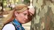 sad women on the park, steady cam shoot