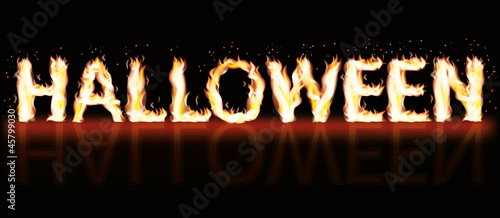 Halloween fire banner, vector illustration